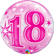 "18 Pink Starburst Bubble Balloon (22"") 1pc"